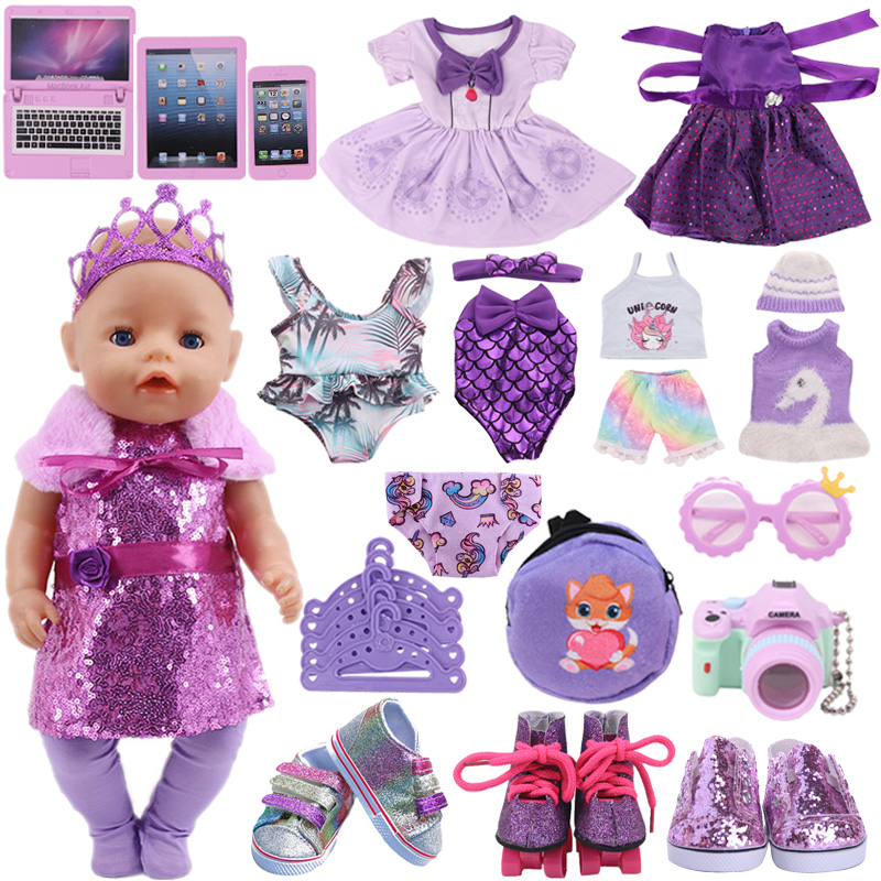 Doll Clothes Purple Series Dsiney Mermaid Dress Shoes For 18 Inch American&43CM Reborn Baby New Born Doll ,Girl