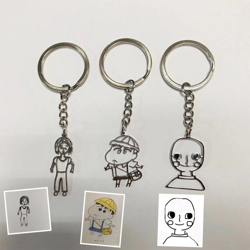 Kid's Art Child Artwork Key Chain Personalized Customized Children's Drawing Keychain Custom Keyring Kids Mother's day GIFT