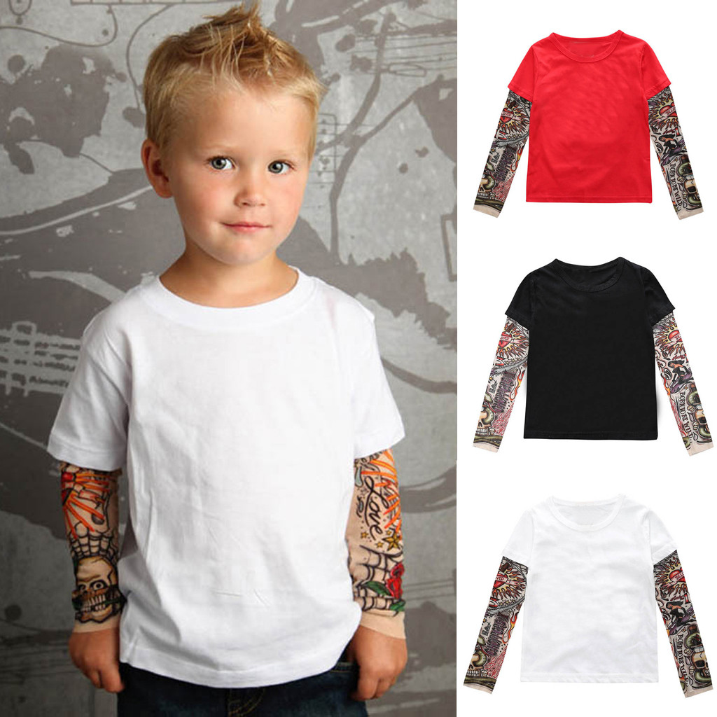 Toddler Toddler Baby Kids Boys T-Shirt with Mesh Tattoo Printed Sleeve Floral Tee Tops