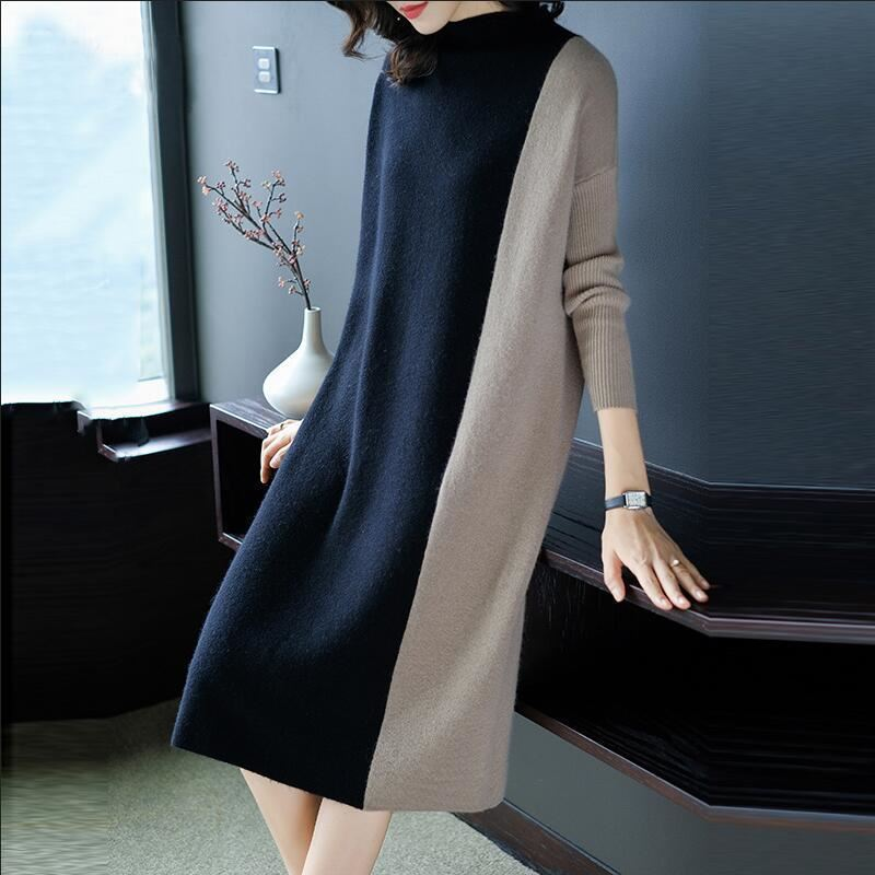 2019 Autumn/winter Dress New Women's Patchwork Knitted Long Plus Size XXXL Sweater Dresses Vestido