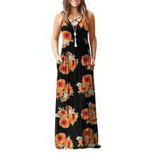 Women Floral Print Racerback Sleeveless Dress V Neck Casual Long Swing Natural Dress Spring None