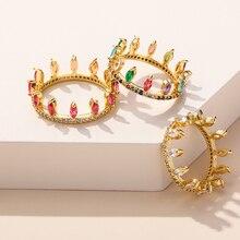 Набор Колец радужного цвета с короной для женщин, комплект из золотистых колец с радужным удовольствием, для свадьбы, помолвки маме и сестре