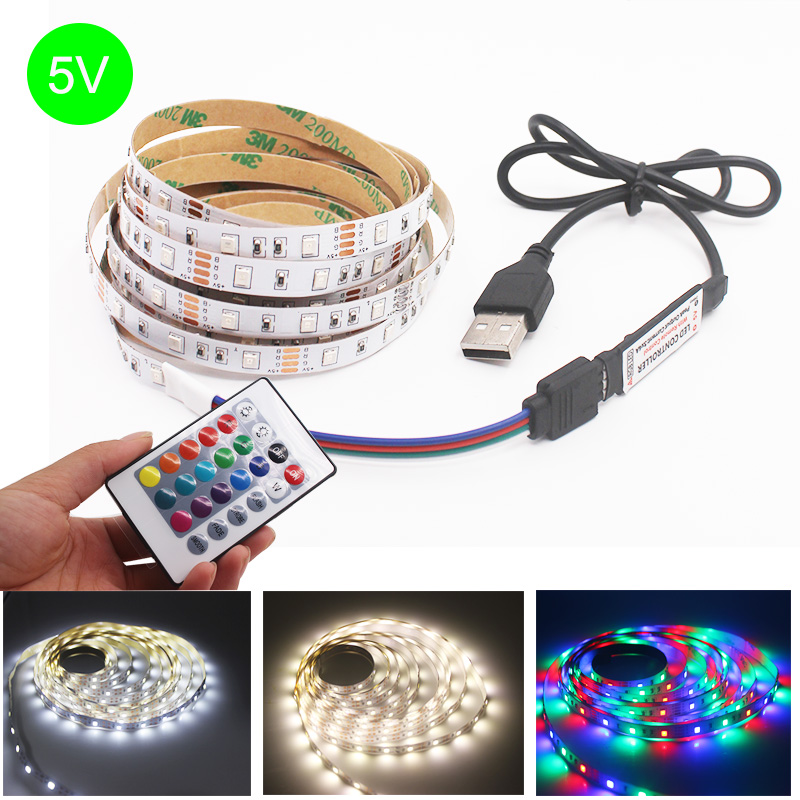 DC 5V USB LED Strip 50CM 1M 2M 3M 4M 5M SMD 2835 Flexible LED Light Tape Ribbon HDTV TV Desktop Screen Background Bias Lighting