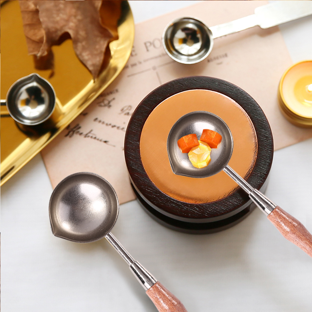 1pcs Anti-Hot Stainless Steel Sealing Wax Spoon Wood Handle Retro Wax Stamping Spoons Invitation Cards Decor Stamps Craft