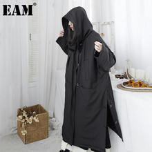 Hooded EAM Cotton-Padded-Coat Oversized Women Parkas Autumn Long Winter Fashion New Fit