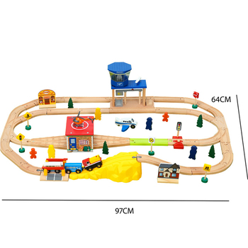 Airport Transport Train Wooden Track Set Children Assemble Rail Car Toy Compatible with Wooden Train Tracks and Electric Trains 10 50 pcs lot city electric power trains train track rail straight
