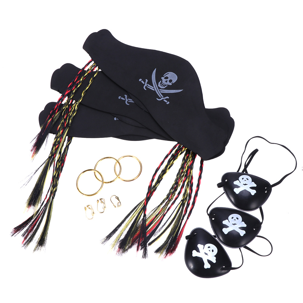 3 Pcs Halloween Pirate Costume Prop Set Party Supplies With Hat Eye Mask And Ring
