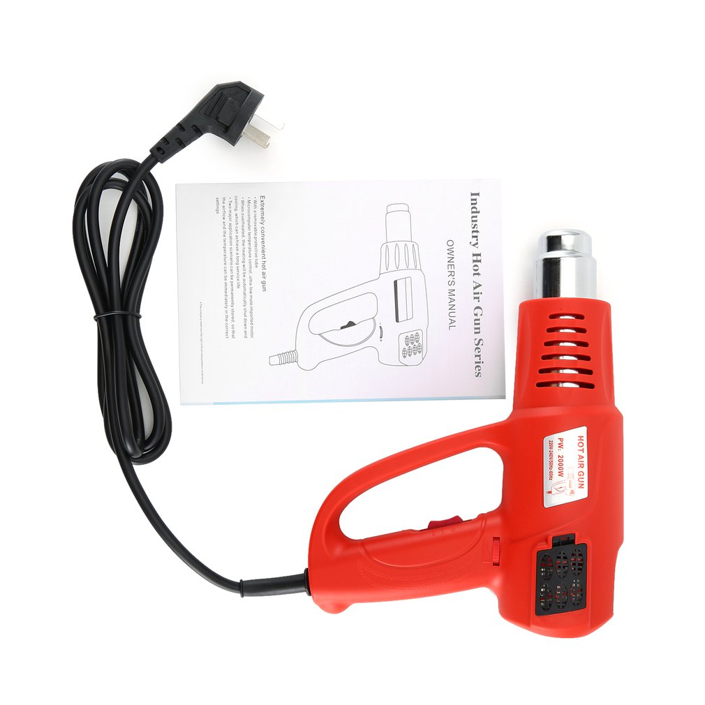 2000W LCD Digital Electric Hot Air Gun Temperature Adjustable Heat Air Blower Shrink Paint Stripper Thermal Power Tool