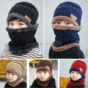 2pcs/set Knitted Scarf Hats Kids Turban Beanie Cotton Wool Fur Caps Children Girls Boys Elastic Autumn Winter Soft Warm Hat - discount item  29% OFF Hats & Caps