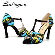 Lading Salsa Dance Shoes Women Soft Sole Latin Dance Shoes For Batik print Petformance Dance Shoes Bsllroom Indoor Sandals
