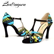 Zapatos de baile de Salsa para mujer, sandalias de suela blanda para baile latino con estampado de Batik, zapatos de baile para sala de estar