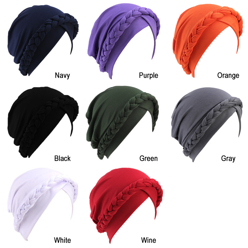 Hff99a43cb3274dc7b51ffcc314ae8407M - NEW arrival Retro Women Braid India caps Muslim Cancer Chemo full cover-up  Beanie Hair Loss Turban femme Wrap