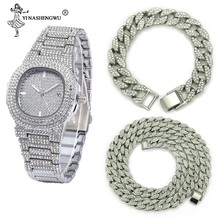 Necklace+Watch+Bracelet Hip Hop Miami Curb Cuban Chain Gold Color Iced Out Paved Rhinestones CZ Bling Rapper Jewelry For Men