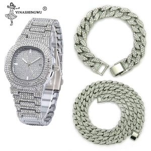 Necklace+Watch+Bracelet Hip Hop Miami Curb Cuban Chain Gold Silver Iced Out Paved Rhinestones CZ Bling Rapper Jewelry For Men(China)