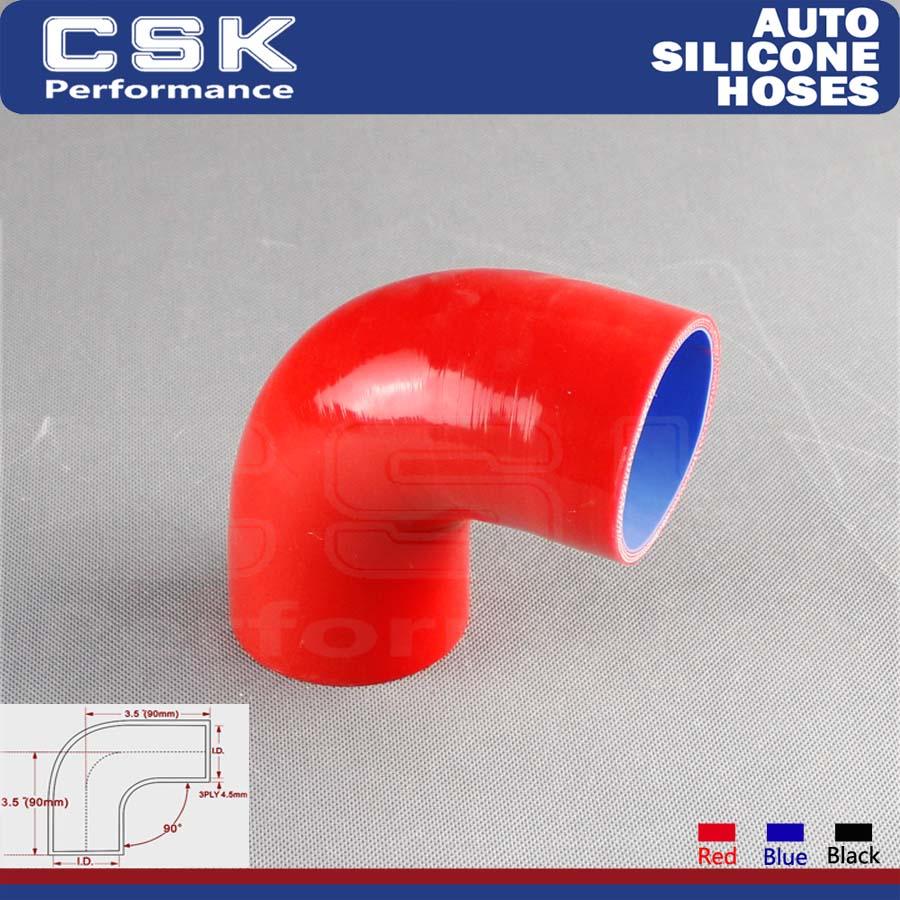 "3.5/"" Silicone Hose//Intercooler Pipe Elbow Coupler RED For Mazda//Honda"
