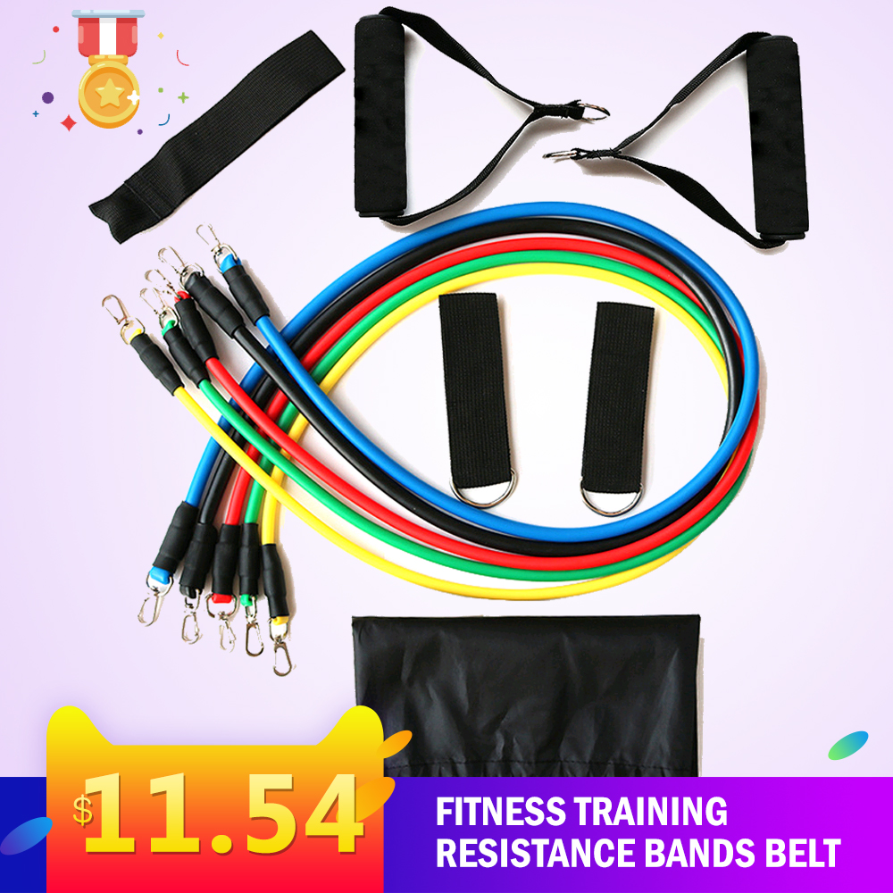 Fitness Puller 11 Piece Set Of Multi-functional Muscle Yoga Training Rope Strength Training Resistance Bands Belt Sport Home
