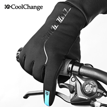 CoolChange Bicycle Gloves Thick Winter Thermal Windproof MTB Screen Touch Fleece Long Finger Cycling For Men Women