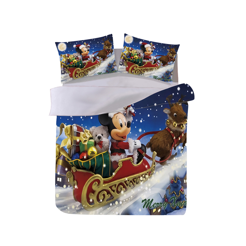 Mickey Minnie Christmas Bedding Set Santa Claus Duvet Cover Pillowcase  Home Textile Adult Children Gift Queen King Size Bed Set