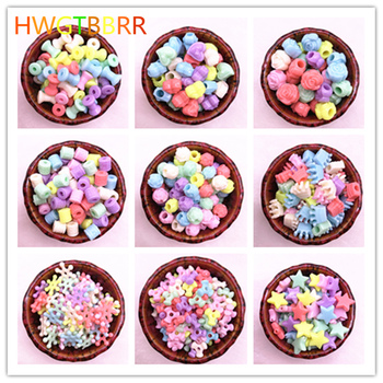 50pcs/lot Multicolour Acrylic Large Hole Beads for Children Children Jewelry Necklace Making Beads Bracelets image