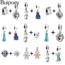 Buipoey 2pcs Frozen Charm Elsa Anna Princess Snowflake Olaf Pendant Ice Horse Beaded Fit Pandora Bracelet Bangle For Women Girls