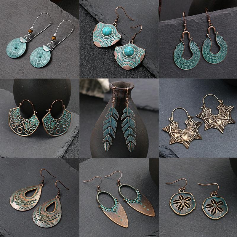 European And American Fashion Luxury Fashion Simple Alloy Earrings Geometric Leaves Pine Stone Retro Women's Earrings