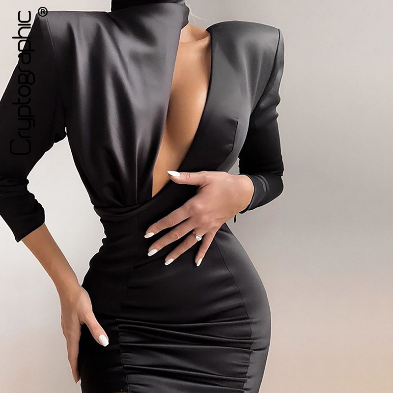Cryptographic 2020 Spring New Fashion Black Mini Dress Women Sexy Cutouts Backless Date Night Party Club Satin Spliced Dresses