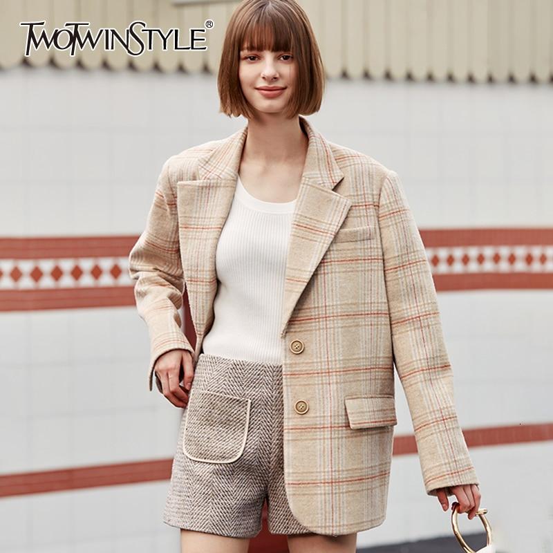 TWOTWINSYLE Vintage Plaid Woolen Blazer For Female Notched Long Sleeve Loose Autumn Winter Suit Women Fashion Clothing 2019 Tide
