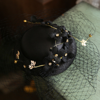 2019 Black Beige Mini Veil Wedding Hat Women Plum Blossom Flower Satin Fascinator Headwear Ladies Formal Evening Party Headdress
