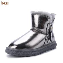 Winter Boots Lined Women Shoes Waterproof Casual Fashion Zip Zipper Fur for Warm INOE