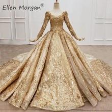 샴페인 골드 긴 소매 웨딩 드레스 2020 실제 사진 겸손한 공주 아랍어 이슬람 우아한 공식적인 신부 가운 여성을위한