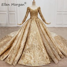 Champagne Gold Long Sleeves Wedding Dresses 2020 Real Photos Modest Princess Arabic Muslim Elegant Formal Bridal Gowns for Women