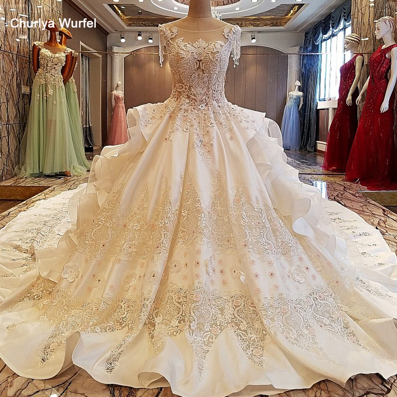 LS00053 Gorgeous Ivory Bridal Gown 3D Flowers Beading Sleeves Ball Gown Lace Wedding Dress Vestidos De Noivas Real Photos 2019
