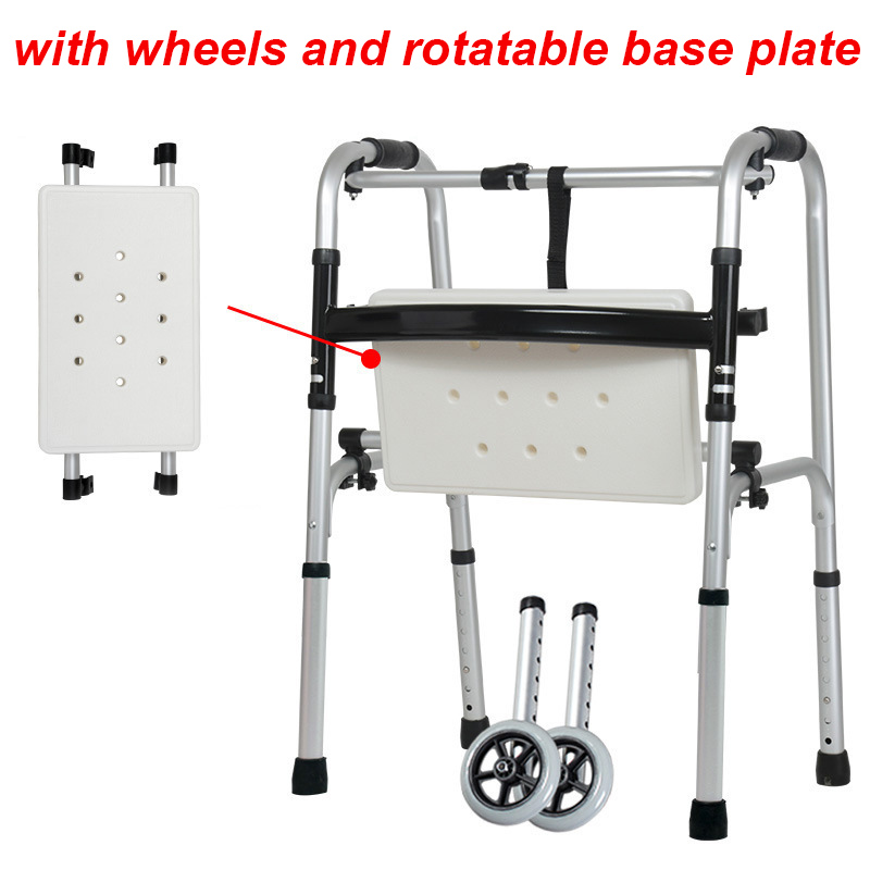 2 Wheels Old Walker Aluminum Alloy Walking Aid Base Plate Adult Rehabilitation Walking Training Walkers For The Elderly