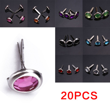 DIY 20PCS Metal Mini Round Rhinestone Studs And Spikes For Clothes Brads Rivets Fastener Craft Decoration Embellishment Fastener image