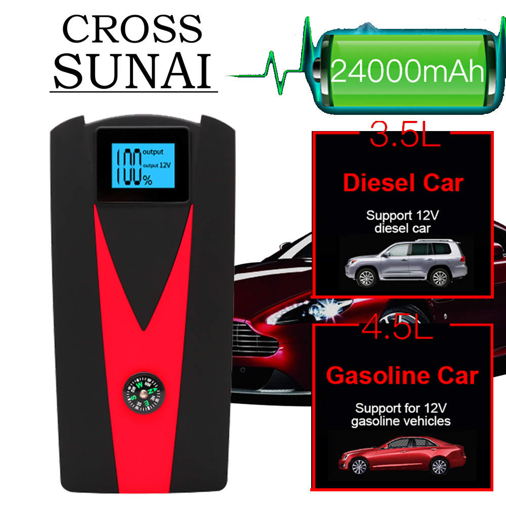 24000mAh Portable Car Jump Starter Charger High Power Bank 12V 800A For Car Battery Booster Starting Device 4 Plugs For Choose