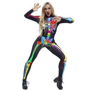 Image 5 - 무서운 할로윈 해골 뼈 인쇄 의상 성인 여성 공포 카니발 농담 Catsuit 점프 슈트 긴 소매 바디 수트 레이디