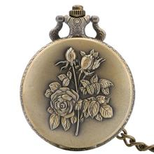 Pocket Watch Sweater Pendant-Clock Steampunk Quartz Bronze Retro Antique Women Rose Flowers-Design
