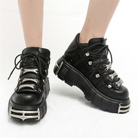 Punk Style Women Sneakers Lace up 6CM Platform Shoes Woman Creepers Female Casual Flats Metal Decor Tenis Feminino