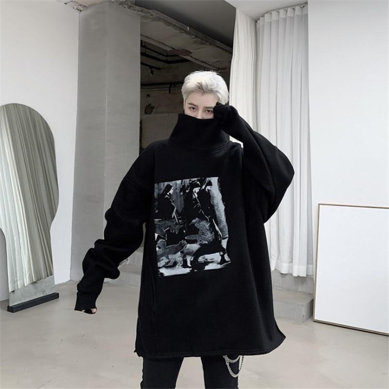 Men Turtleneck Print Fleece Thick Warm Pullover Hoodie Male Streetwear Hip Hop Punk Gothic Loose Casual Sweatshirt Outerwear