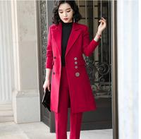 2019 Winter High quality Elegant women pant suit long blazer and pant 2 pieces sets suit green red black for office lady