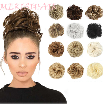 Merisihair-Gumka z kręconych syntetycznych włosów dla dziewczyn scrunchie roztrzepany kok brązowy szary kucyki tanie i dobre opinie Włókno odporne na wysoką temperaturę CN (pochodzenie) Zakręcony kok Z gumową opaską Realny kolor
