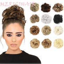 Merisihair-Gumka z kręconych syntetycznych włosów dla dziewczyn scrunchie roztrzepany kok brązowy szary kucyki tanie tanio Włókno odporne na wysoką temperaturę CN (pochodzenie) Zakręcony kok Z gumową opaską Realny kolor