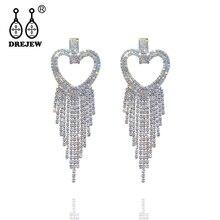 DREJEW Gold Silver Lover Heart Long Tassel Rhinestone Statement Earrings Sets 925 Drop for Women Wedding Jewelry HE418
