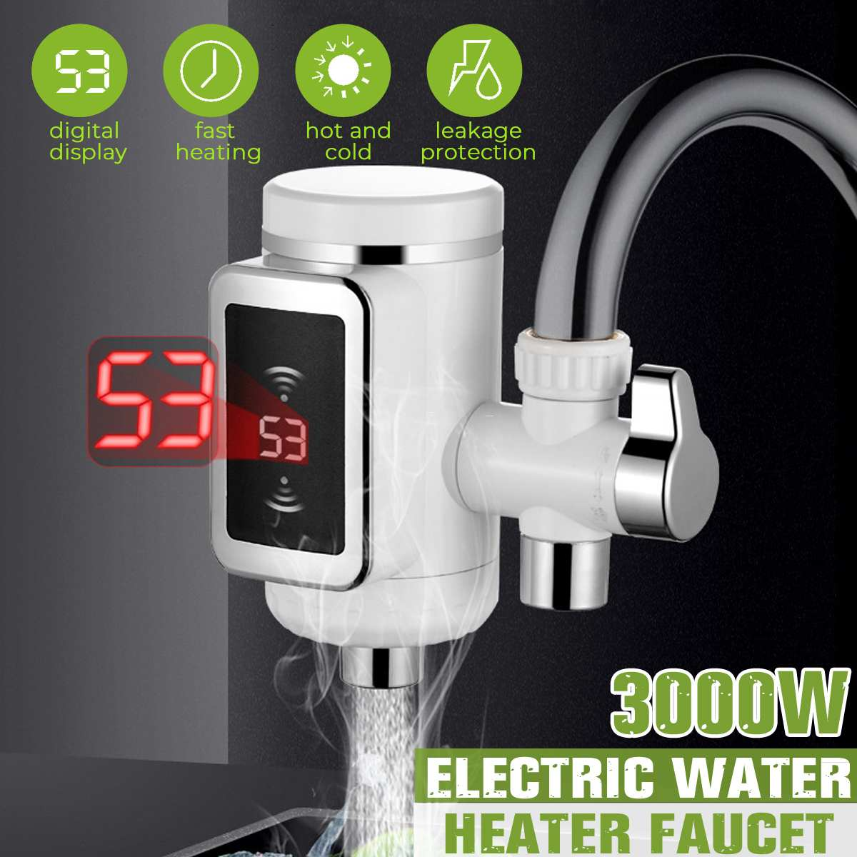 3000W Electric Kitchen Water Heating Tap Instant Hot Water Faucet Heating Tankless Water Heater LED Display EU Pulg 220V