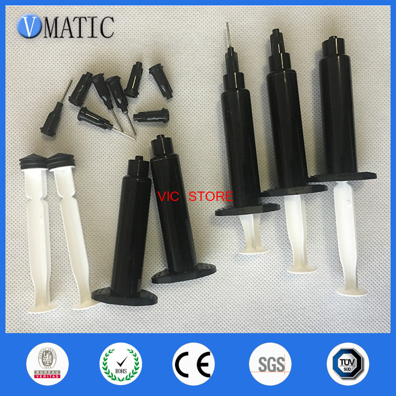 Free Shipping 10 Sets 5cc / Ml Black UV Plastic Syringe With Glue Dispensing Needle/ Syringe Cap/Stopper