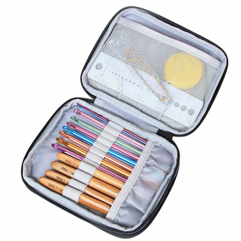 Crochet Hook Case Organizer Zipper Bag With Web Pockets For Various Crochet Needles And Knitting Accessories Storage Tool