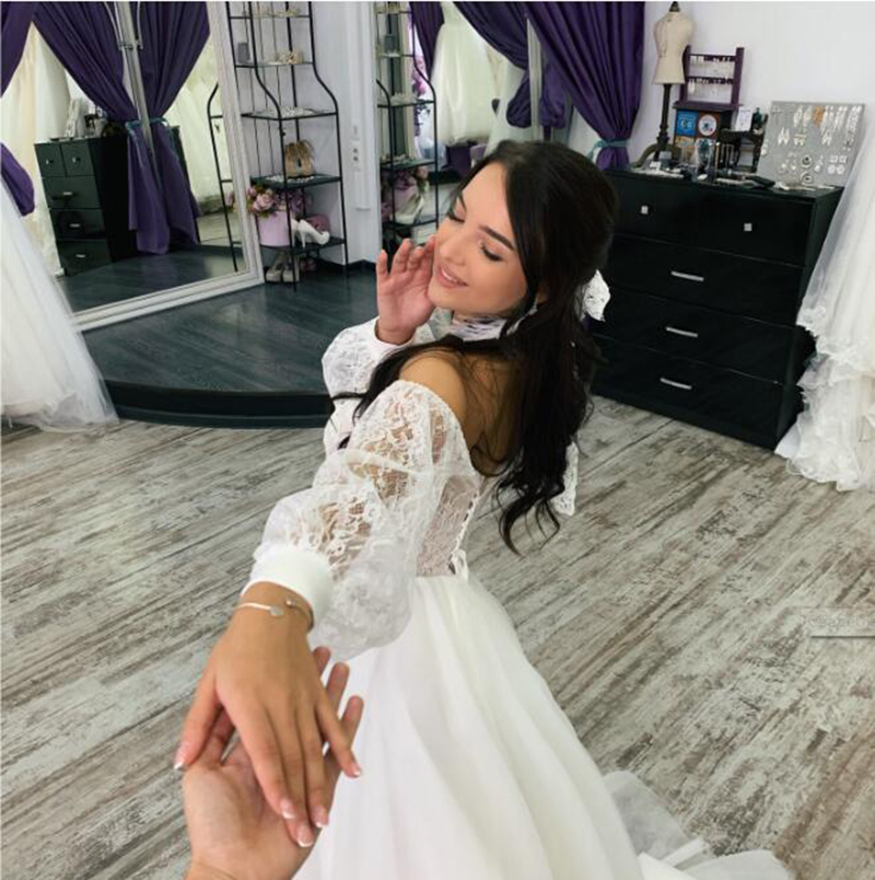 Princess Boho Wedding Dresses A Line Sweetheart Lace Sleeve Beach Wedding Dress Floor Length Tulle Country Garden Bridal Skirts
