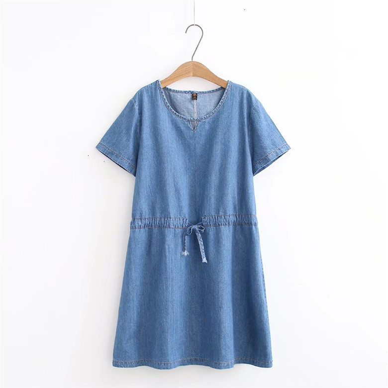2019 robe en jean grande taille femmes robe bleu jean chemise femmes robes bureau perte robe d'été Vestido Femininos