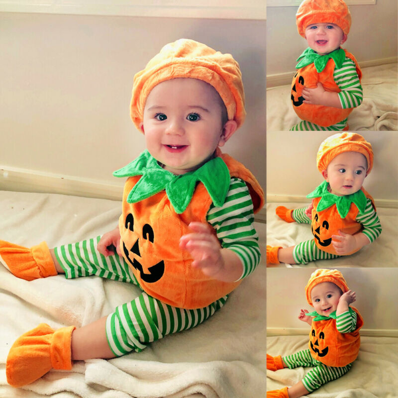 Outfit Baby-Girl Costume Dress Tops Pumpkin Party Halloween Boys Kid Hat 3pcs Shoes Fancy