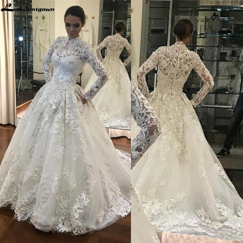 Glamorous Long Sleeve 3D Flowers Lace Wedding Dresses High Neck Full Appliqued Covered Buttons Plus Size Bridal Wedding Gowns